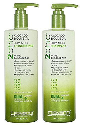 Giovanni 2chic Avocado and Olive Oil Ultra-Moist Shampoo and Conditioner, 24 Fluid Ounce ()