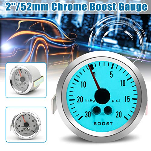 Gift-4Car 2'' 52mm Chrome Rim Electro Mechanical Luminescent Boost Gauge Car Auto Automobile LED light Boost Gauge ()