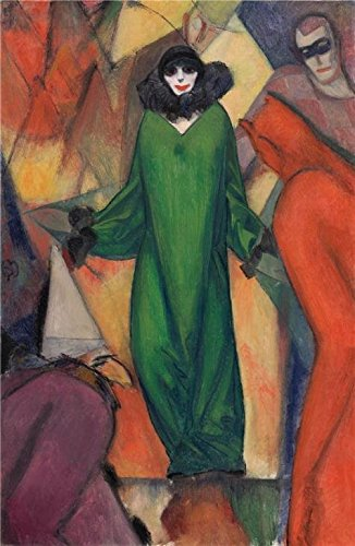 High Quality Polyster Canvas ,the High Quality Art Decorative Prints On Canvas Of Oil Painting 'Albert Bloch,The Green Domino,1913', 8x12 Inch / 20x31 Cm Is Best For Bedroom Decoration And Home Decoration And Gifts (Beaded Domino)