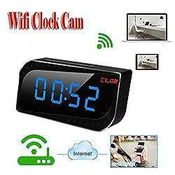 MDTEK@ HD 720P H.264 Security & Surveillance P2P Wifi Pinhole Hidden Alarm Clock Camera Mini Clock Cameras Mini Camcorder Video Recorder Nanny Camera DVR