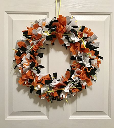 Felt & Ribbon Orange and Black Snakes and Spiders Halloween Wreath