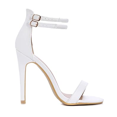 04b9bc4bbefc Shoe Closet Ladies White Barely There Peep Toes Strappy Sandals Stilettos High  Heels UK3 EURO36