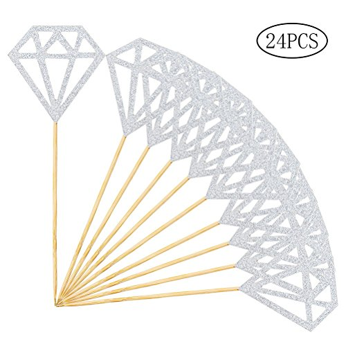 Wode Shop 24 Pcs Diamond Cupcake Toppers, Silver Glitter Diamond Cupcake Decor Cupcake Picks for ()