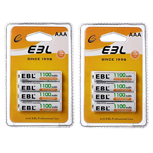 EBL AAA Rechargeable Batteries 1100mAh Ready2Charge Triple A NiMH Battery, Retail Pacakge - 8 Counts