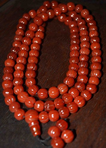 8 Mm Pumpkin - Tibetan Nanhong Pema Raka Red Agate Carnelian Prayer Beads Bracelet Necklace Chain Chinese Stone Nan Hong Tibet Rosary Misbaha Buddhist Strand of Beads Old Antique Mala Worry Ancient Melon Pumpkin Shape 108PCS 8mm