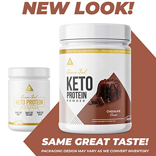 Grass-fed Keto Protein Powder: Collagen Peptides | Pure C8 MCT Oil | Irish Butter | Whey Protein Isolate | Best Ketogenic Protein Shake Supplement | by LevelUp® (Chocolate Cream)