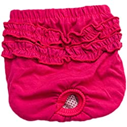 Freerun Solid Pet Dog Brief Sanitary Pants Female Girl Dog Physiological Pants Pet Underwear Shorts Diapers - RoseRed, XS