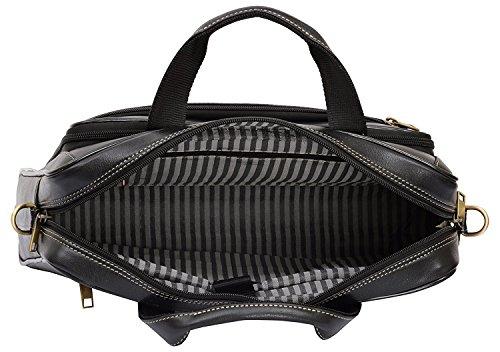 HiLEDER Leder Schwarz Laptop Aktentasche für Männer und Frauen