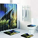 Chirpa 4PCS Non Slip Toilet Polyester Cover Mat Set Bathroom Shower Curtain