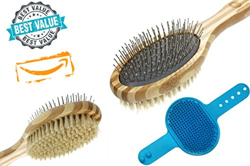 (ARSALAN Pet Grooming Brush Kit: Natural Bamboo Deshedding/Dematting/Detangling Brush + Pet Slicker Massaging Shampoo Brush Bundle  Sturdy & Easy-Grip Grooming Brush Set For Short & Long Hair Dog & Cat)