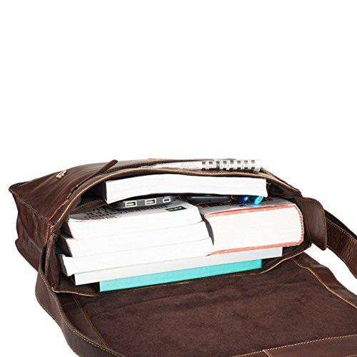 STILORD 'Hannes' Bolsa bandolera hombre piel vintage grande marrón bolso para tablet PC 13,3 pulgadas bolso mensajero universidad trabajo collage estudiantes mochila, Color:terra - braun terra - marrón