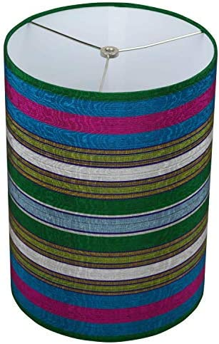 FenchelShades.com Lampshade 11 Top Diameter x 11 Bottom Diameter 15 Height Cylinder Drum USA Made Multi-Colored Stripes