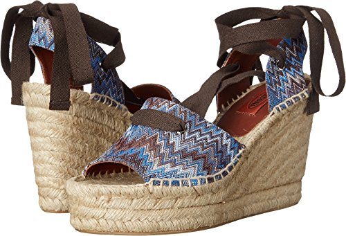 Ribbon Espadrille Sandals (Missoni Women's Ribbon Wedge Espadrille, Cobalto, 40 M)