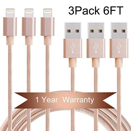Everdigi Lightning Cable 3Pack 6FT Nylon Braided iPhone Char