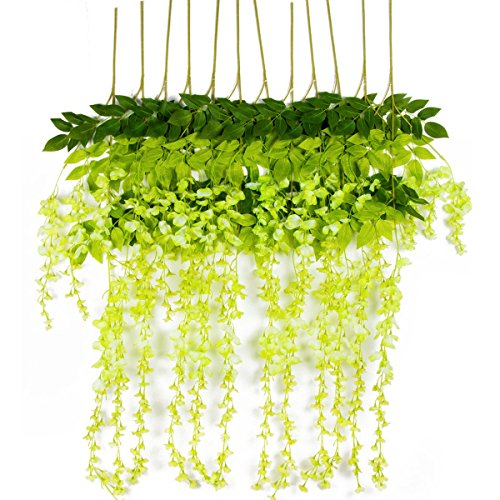Vopie 12 Piece Artificial Wisteria Vine Ratta Silk Hanging Flower for Wedding Decor, Garden, DIY Living Room, Green
