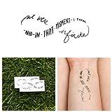 Tattify Infinity Sign Quote Temporary Tattoo - Wallflower (Set of 2) Long Lasting, Waterproof, Fashionable Fake Tattoos