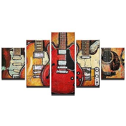 Kicode 5 piezas Música de guitarra Moderno Lona Pintura HD Póster de arte Cuadro de pared