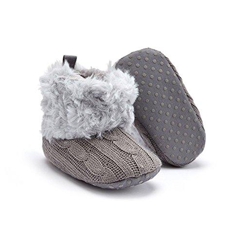 Just Easy–Zapatos para bebé patucos Botas de nieve invierno Plus terciopelo Chica Joven Botines negro caqui Talla:11 cm gris