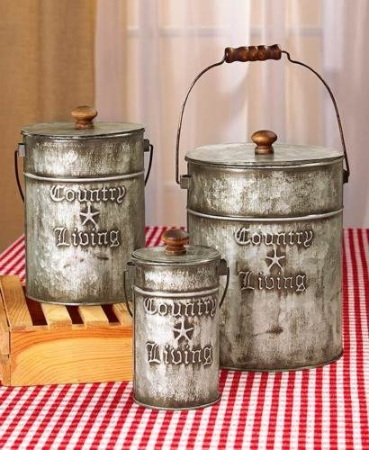 3 GALVANIZED CANISTERS Vintage Retro Country Living Kitchen Bath Laundry Storage (Retro Canister Set)