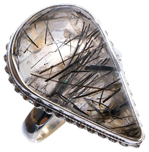 StarGems(tm) Natural Tourmalinated Quartz Handmade Unique 925 Sterling Silver Ring, US size 9.25 X2025 (Stone Tm Ladies Italian)