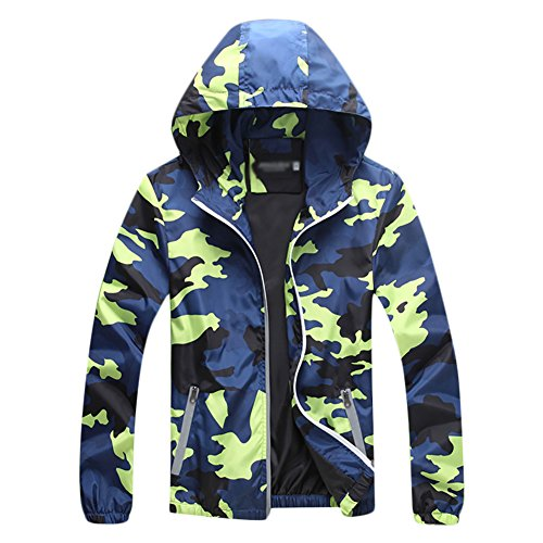 (Cycling Skin Coat Jersey Bicycle Windproof Jacket Rain Coat Unisex Camouflage Green Small)