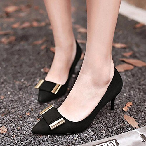 Single Heeled Wedding Women YC Pointed Shallow Shoes 'S Mouth High L The Bowling Black Woman Bowknot With x18nZZ