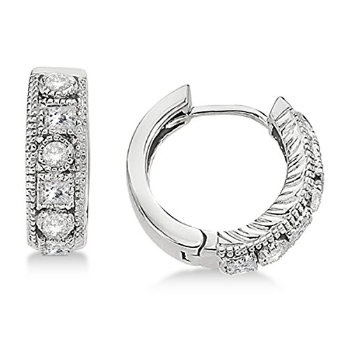 Princess Cut Diamond Huggy Earring (Round and Princess Cut Diamond Huggie Earrings 14k White Gold (0.50ct))