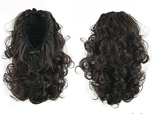 """S-ssoy 13"""" Women's Short Curly Draw String Ponytail Hair Ext"""