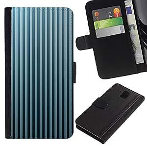 All Phone Most Case / Oferta Especial Cáscara Funda de cuero Monedero Cubierta de proteccion Caso / Wallet Case for Samsung Galaxy Note 3 III // Stripes Wallpaper Grey Blue Black Random