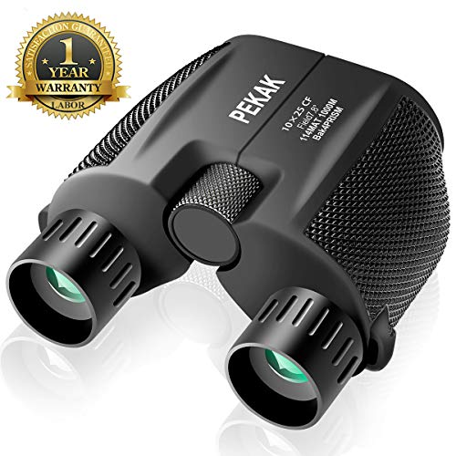 10x25 Mini Compact Binoculars for Adults with Low Light Night Vision,Portable Folding Pocket Banockulers - Lightweight Small Waterproof Binocular for Hunting Bird Watching Traveling Sports Concerts ()