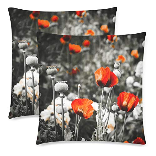 (Royalreal Red Poppy in The Meadow Throw Pillow Cover Decorative Durable Cushion Cover Set of 2 18x18inch Soft Linen Pillowcase for Sofa Couch Bedroom Flower Poppy Seed)