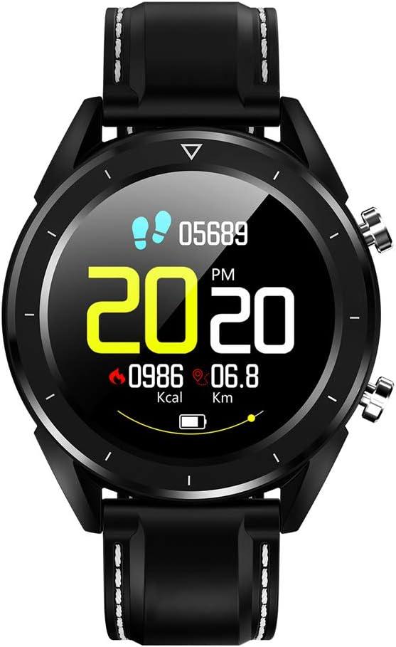 Smart watch 1.54 Grand éCran Ip68 ImperméAble à l'eau Longue Veille éCran De Veille Couleur Montre Intelligente Black Artificial Leather Strap