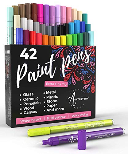 Acrylic Paint Pens - 42 Acrylic Paint Markers - Extra Fine Tip Paint Pens (0.7mm) - Great for Rock Painting, Wood Paint, Ceramic Paint & Glass Paint - 40 Colors + Extra Black & White Paint Marker Set
