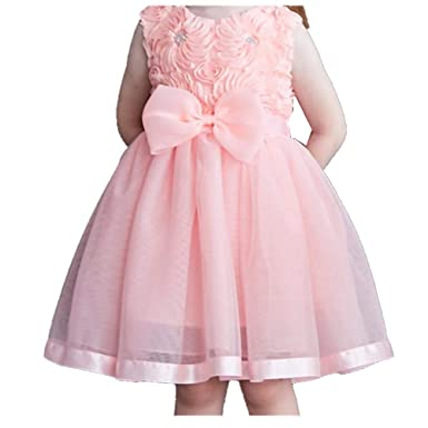 837093ec7be0 Brilliant sun Girls Sleeveless Rose Princess Party Dresses with Bowknot(Pink -90cm(3