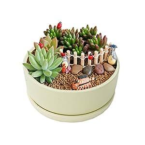 Vencer 6.29 Inch Round Modern Minimalist Ceramic Succulent Planter Pot - Decorative Flower Holder Bowl,Office Desktop Potted Stand,Makron Design,Green,VF-037