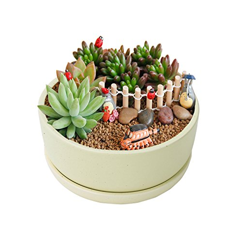 Decorative Ceramics Planter (Vencer 6.25 Inch Round Modern Minimalist Ceramic Succulent Planter Pot - Decorative Flower Holder Bowl,Office Desktop Potted Stand,Makron Design,Green,VF-037)
