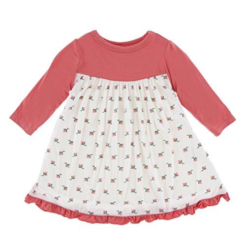 Pink Rose Bud Print - Kickee Pants Little Girls Print Classic Long Sleeve Swing Dress, Natural Rose Bud, 4T