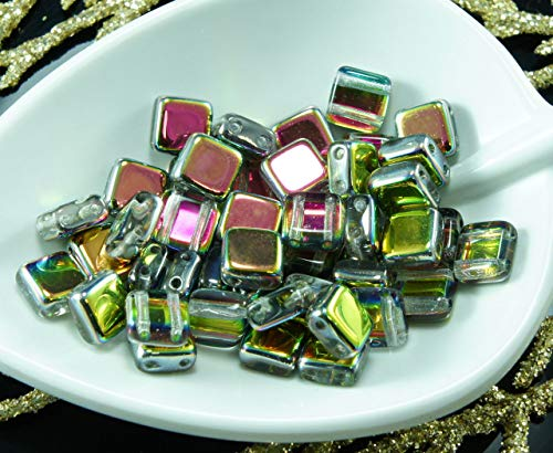 40pcs Crystal Dichroic Vitrail Green Valentine Pink Half Czech Tile Two 2 Hole Square Glass Beads Flat 6mm