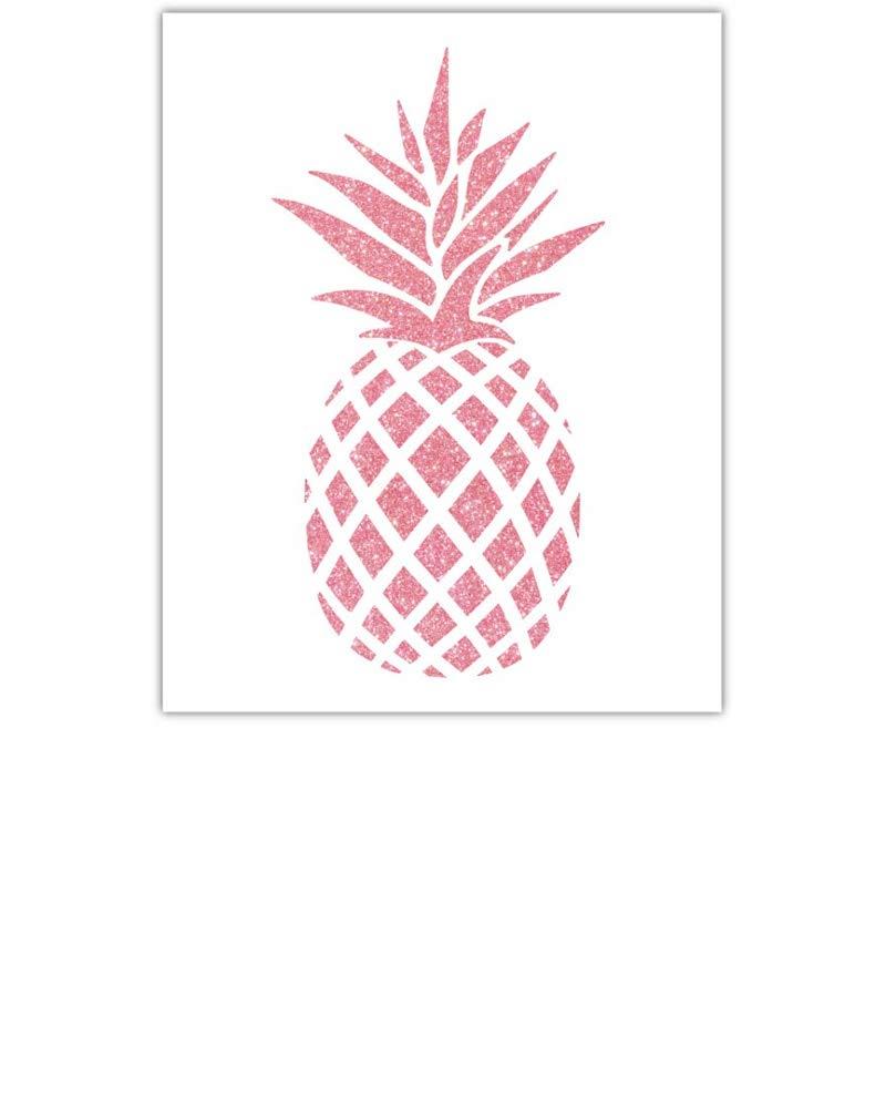 YaYstationery Art Prints - Wall Art - Wall Decor - Home Decor - Nursery Room Decor - Dorm Room Decor - 8 x 10 inches Digital Art Print Unframed - Thick Textured Paper Stock - Pink Glitter Pineapple