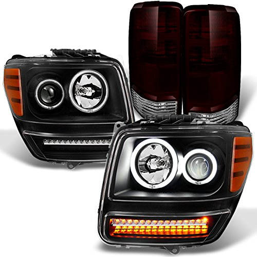 For 2007-2011 Nitro Dual CCFL Halo Black Projector LED Signal Headlights + Dark Red Tail Lights Combo