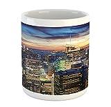 Ambesonne New York Mug, Skyline of NYC with Urban Skyscrapers at Sunset Dawn Streets USA Architecture, Printed Ceramic Coffee Mug Water Tea Drinks Cup, Orange Blue
