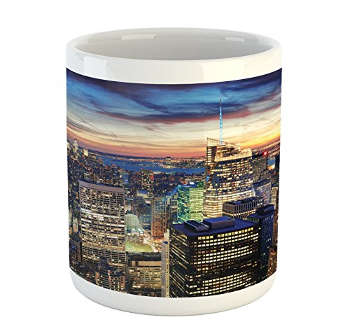 (Ambesonne New York Mug, Skyline of NYC with Urban Skyscrapers at Sunset Dawn Streets USA Architecture, Printed Ceramic Coffee Mug Water Tea Drinks Cup, Orange)
