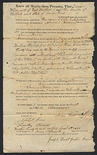 Anson Wadsworth Samuel Brewer E Hartford CT deed 1825