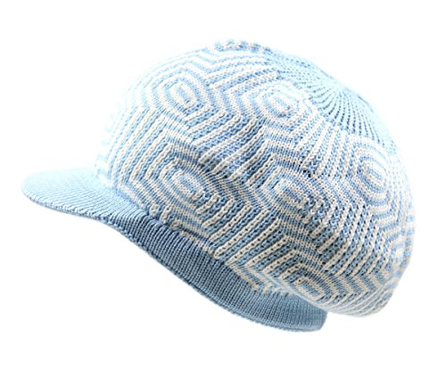 Blue Sky Cotton Visor - NY Knit Cotton Beanie Visor (Sky Blue/White)