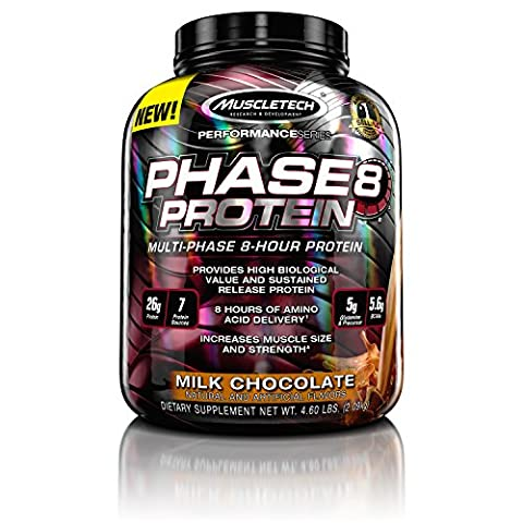 MuscleTech Phase8 Protein Powder, Sustained Release 8-Hour Protein Shake, Milk Chocolate, 4.6 Pounds - Gold Standard Chocolate