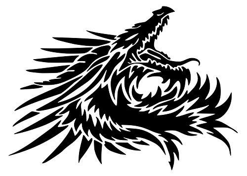 UR Impressions Blk 22.5in. Tribal Dragon Head Decal Vinyl Sticker Graphics for Cars Trucks SUV Vans Walls Windows Laptop|Black|22.5 X 16.2 inch|URI699-B ()