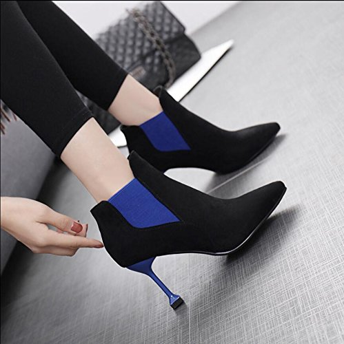 New High 8Cm Sleeve Tip With Cat Boot Boots Winter Elasticated Is Colored Heeled Satin Butt Ladies A With Black 39 Fine KHSKX TCznwdqq