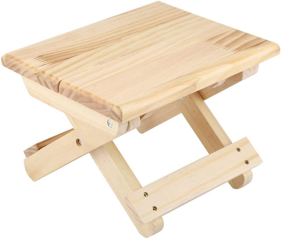 Acouto Small solid wood folding bench, square square solid wood folding table Folding garden table Folding table for home or garden use