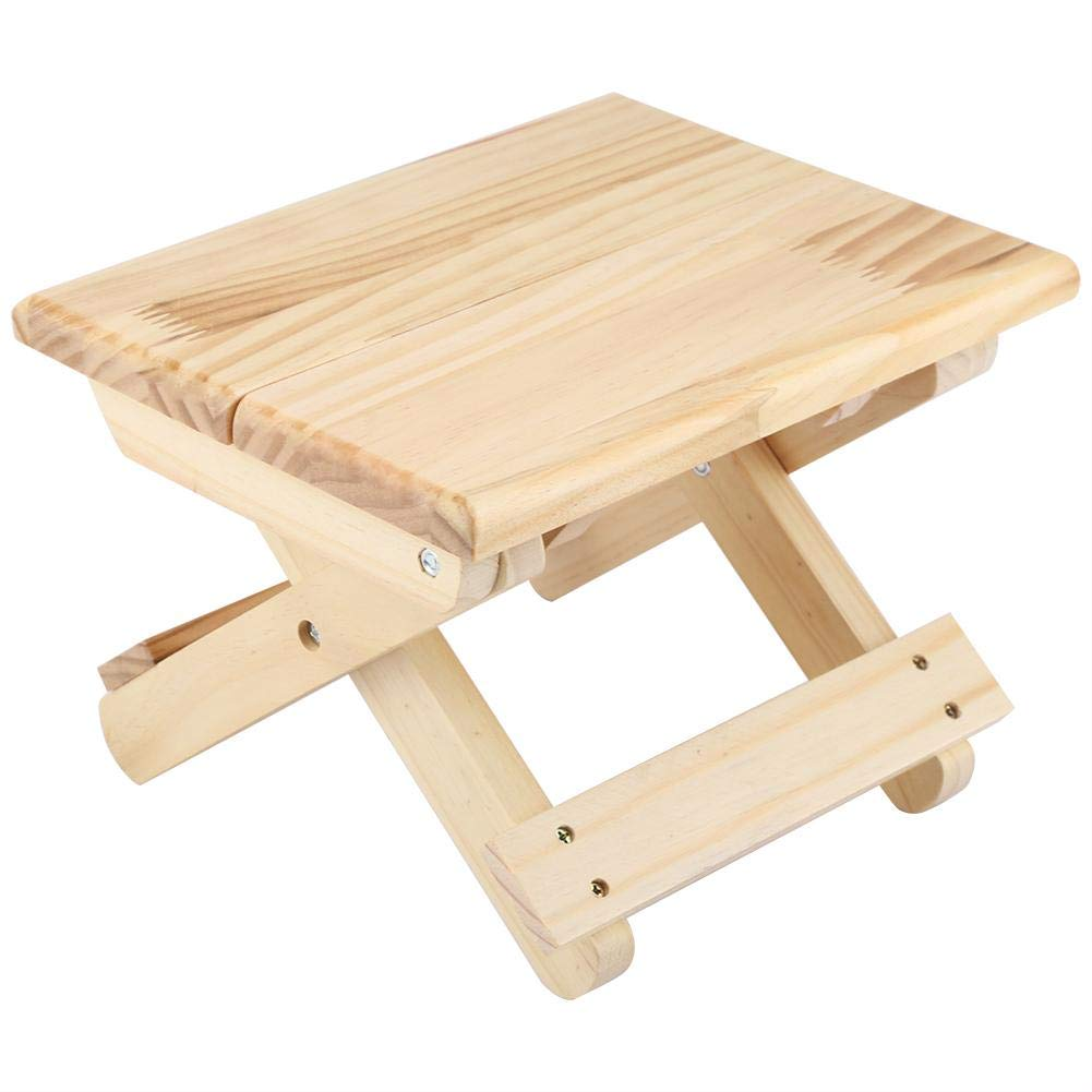 Wood Square Bench, Foldable Solid Wood Small Square Bench Rural Styles Bench Ergonomic Design Fine Workmanship Suitable for Outdoor Fishing, Household