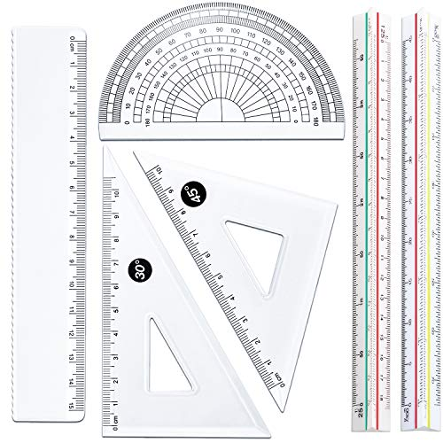 (Leinuosen 6 Pieces Triangular Architect Scale Ruler Set, 2 Pieces 6 Inch Triangular Architect Scale with 4 Pieces Triangle Ruler Square Set, Fit for Architects, Engineers, Students and More)